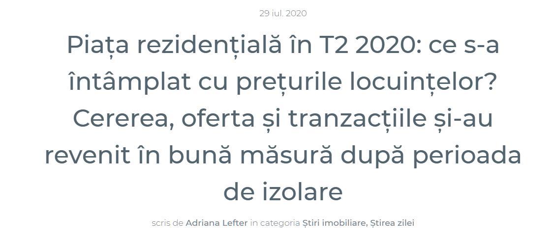 Piața rezidențială în T2 2020: ce s-a întâmplat cu prețurile locuințelor?